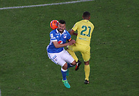 BOGOTA -COLOMBIA, 4-06-2017. Andres Cadavid player of Millonarios fights the ball  agaisnt of  Jefferson Torres  player of Atletico Bucaramanga Action game between  Millonarios  and Atletico Bucaramanga  during match for quarter finals of the Aguila League I 2017 played at Nemesio Camacho El Campin stadium . Photo:VizzorImage / Felipe Caicedo  / Staff