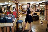 West Australian supermodel Nicole Trunfio works on her range of jewellery in a New York City workshop beneath her showroom.