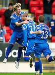St Johnstone v Hibs...02.10.10  .Marcus Haber celebrates his goal with the other scorer Liam Craig.Picture by Graeme Hart..Copyright Perthshire Picture Agency.Tel: 01738 623350  Mobile: 07990 594431