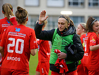 Clotilde Codden (23 Woluwe) gives a high five to Sheila Broos (20 Woluwe) before a female soccer game between FC Femina WS Woluwe and RSC Anderlecht Women on the eight match day of the 2020 - 2021 season of Belgian Women's Super League , Sunday 22nd of November 2020  in Woluwe, Belgium . PHOTO SPORTPIX.BE | SPP | SEVIL OKTEM