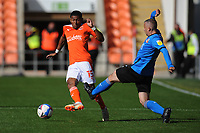 Swindon Town's Paul Caddis is tackled by Blackpool's Demetri Mitchell<br /> <br /> Photographer Kevin Barnes/CameraSport<br /> <br /> The EFL Sky Bet League One - Blackpool v Swindon Town - Saturday 19th September 2020 - Bloomfield Road - Blackpool<br /> <br /> World Copyright © 2020 CameraSport. All rights reserved. 43 Linden Ave. Countesthorpe. Leicester. England. LE8 5PG - Tel: +44 (0) 116 277 4147 - admin@camerasport.com - www.camerasport.com