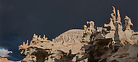 988000007 panoramic view of summer thunderstorm clouds form up over the hoodoos in fantasy canyon blm lands utah united states