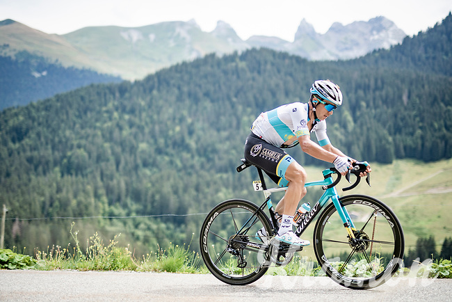 Alexey Lutsenko (KAZ/Astana) trying to bridge the gap with the race leaders<br /> <br /> Stage 5: Megève to Megève (154km)<br /> 72st Critérium du Dauphiné 2020 (2.UWT)<br /> <br /> ©kramon