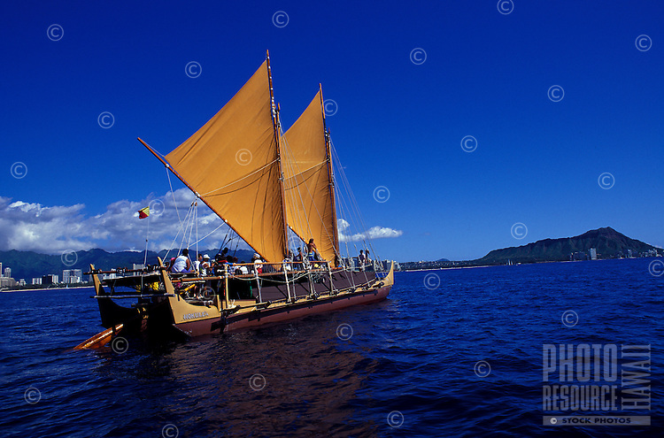 Hokulea, sailing canoe similar to those used by ancient polynesian mariners, near Diamond Head, Oahu