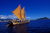 Hokulea, sailing canoe similar to those used by ancient polynesian mariners, near Diamond Head, Oahu