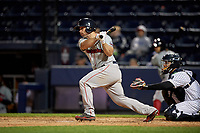 Pawtucket Red Sox catcher Dan Butler (12) bats during a game against the Scranton/Wilkes-Barre RailRiders on May 15, 2017 at PNC Field in Moosic, Pennsylvania.  Scranton defeated Pawtucket 8-4.  (Mike Janes/Four Seam Images)