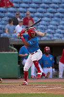Clearwater Threshers Luis García (5) bats during a game against the Dunedin Blue Jays on May 18, 2021 at BayCare Ballpark in Clearwater, Florida.  (Mike Janes/Four Seam Images)