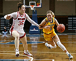 SIOUX FALLS, SD - MARCH 8: Kadie Deaton #3 of the North Dakota State Bison drives to the basket past Allison Peplowski #35 of the South Dakota Coyotesduring the Summit League Basketball Tournament at the Sanford Pentagon in Sioux Falls, SD. (Photo by Richard Carlson/Inertia)