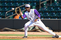 Keon Barnum (20) of the Winston-Salem Dash stretches for a throw at first base during the game against the Wilmington Blue Rocks at BB&T Ballpark on July 6, 2014 in Winston-Salem, North Carolina.  The Dash defeated the Blue Rocks 7-1.   (Brian Westerholt/Four Seam Images)