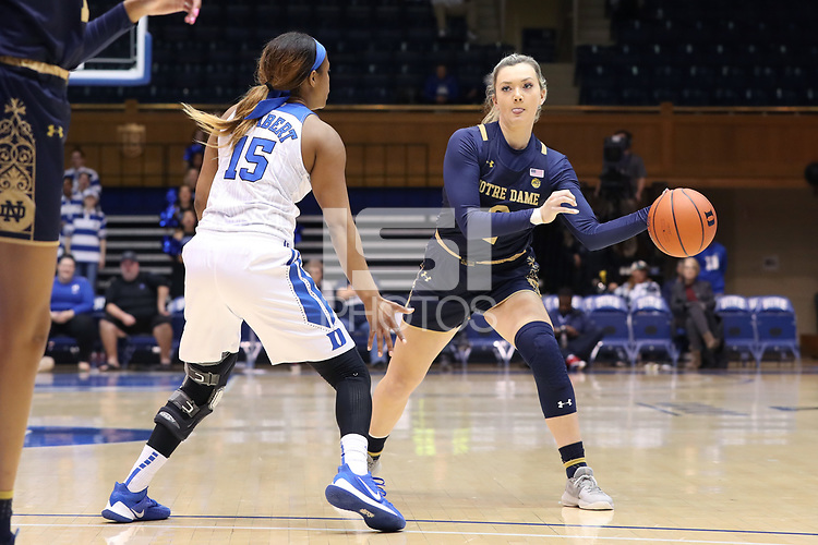 DURHAM, NC - JANUARY 16: Kaitlin Cole #2 of Notre Dame University passes the ball during a game between Notre Dame and Duke at Cameron Indoor Stadium on January 16, 2020 in Durham, North Carolina.