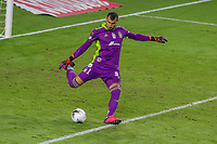 22nd December 2020, Orlando, Florida, USA;  Tigres Nahuel Guzman kicks the ball long during the Concacaf Championship between LAFC and Tigres UANL on December 22, 2020, at Exploria Stadium in Orlando, FL.