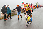 Primoz Roglic (SLO) Jumbo-Visma climbing his way to victory on Stage 17 of La Vuelta d'Espana 2021, running 185.8km from Unquera to Lagos de Covadonga, Spain. 1st September 2021.    <br /> Picture: Luis Angel Gomez/Photogomezsport   Cyclefile<br /> <br /> All photos usage must carry mandatory copyright credit (© Cyclefile   Luis Angel Gomez/Photogomezsport)
