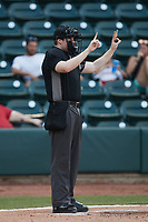 Home plate umpire Mitch Leikam during the game between the Llamas de Hickory and the Winston-Salem Rayados at Truist Stadium on July 6, 2021 in Winston-Salem, North Carolina. (Brian Westerholt/Four Seam Images)