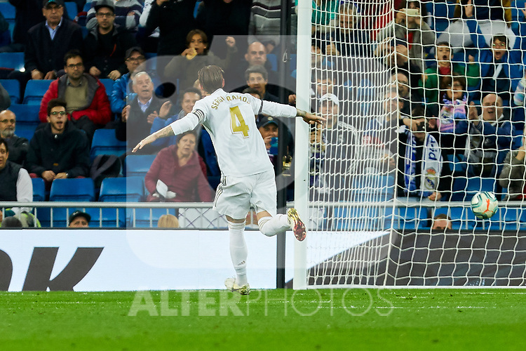 Sergio Ramos of Real Madrid celebrates goal during La Liga match between Real Madrid and CD Leganes at Santiago Bernabeu Stadium in Madrid, Spain. October 30, 2019. (ALTERPHOTOS/A. Perez Meca)
