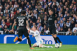 Real Madrid Toni Kroos and PSG Giovani Lo Celso and Dani Alves during Eight Finals Champions League match between Real Madrid and PSG at Santiago Bernabeu Stadium in Madrid , Spain. February 14, 2018. (ALTERPHOTOS/Borja B.Hojas)