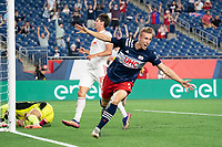 FOXBOROUGH, MA - MAY 22: Adam Buksa #9 of New England Revolution celebrates his goal during a game between New York Red Bulls and New England Revolution at Gillette Stadium on May 22, 2021 in Foxborough, Massachusetts.