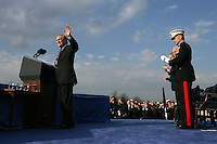 President Bush, VP Cheney: Armed Forces Full Honor Review in Honor of the Secretary of Defense Donald Rumsfeld at the Pentagon.