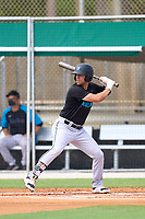 Miami Marlins Corey Bird (34) bats during a Minor League Spring Training camp day on April 28, 2021 at Roger Dean Chevrolet Stadium Complex in Jupiter, Fla.  (Mike Janes/Four Seam Images)