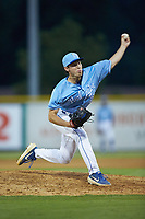 Burlington Royals relief pitcher Zack Phillips (34) in action against the Danville Braves at Burlington Athletic Stadium on August 9, 2019 in Burlington, North Carolina. The Royals defeated the Braves 6-0. (Brian Westerholt/Four Seam Images)