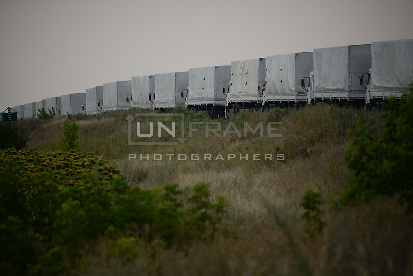 Line of trucks with unauthorized Russian Humanitarian aid moving towards Luhansk, Eastern Ukraine.