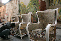 Restoring furniture in the antique area of Istanbul, Cukurcuma