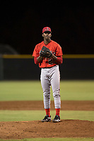 AZL Angels relief pitcher Darrien Williams (28) prepares to deliver a pitch during an Arizona League game against the AZL Giants Black at the San Francisco Giants Training Complex on July 1, 2018 in Scottsdale, Arizona. The AZL Giants Black defeated the AZL Angels by a score of 4-2. (Zachary Lucy/Four Seam Images)