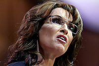 Former Alaska Governor and Tea Party figure Sarah Palin pictured during CPAC 2014 at National Harbor, Maryland  Saturday 8 March 2014.