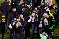 COLUMBUS, OH - DECEMBER 12: Head coach Caleb Porter of Columbus Crew celebrates after defeating Seattle Sounders FC during a game between Seattle Sounders FC and Columbus Crew at MAPFRE Stadium on December 12, 2020 in Columbus, Ohio.