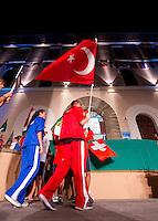 Turkish flag.Piazza Bovio.Opening Ceremony.European Championships Open Water Swimming 2012.Campionati Europei di nuoto di fondo 2012.Piombino (LI) - Italy  12-16 september.Day00 Sept.11.Photo G.Scala/Deepbluemedia.eu/Insidefoto