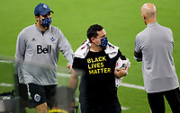 LOS ANGELES, CA - SEPTEMBER 23: BlackLives Matter during a game between Vancouver Whitecaps and Los Angeles FC at Banc of California Stadium on September 23, 2020 in Los Angeles, California.