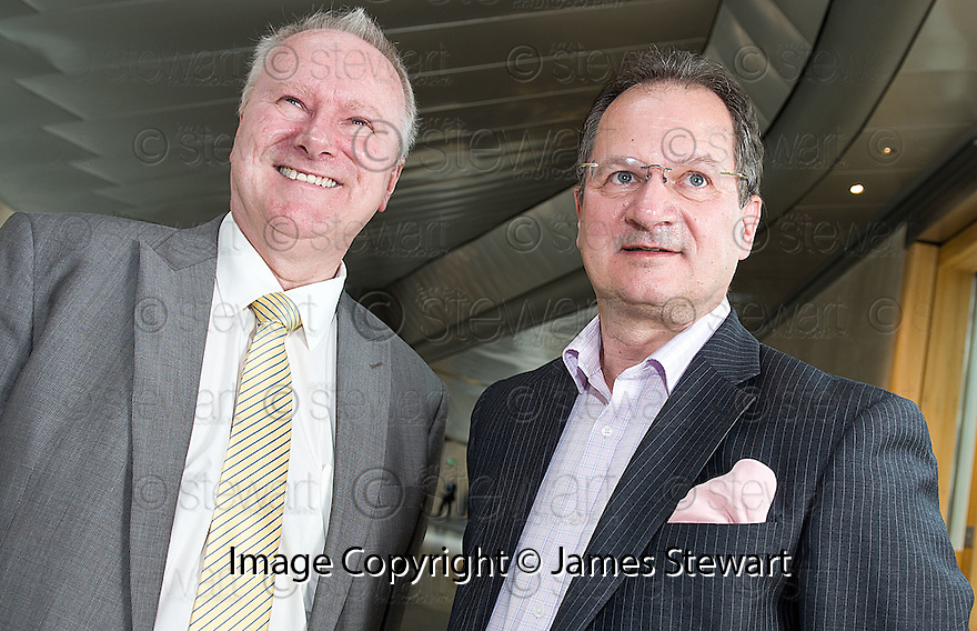 Cabinet Secretary for Infrastructure and Capital Investment, Alex Neil MSP (left),  with Graeme Ross, Business Development Director, BMI Regional, at the announcement of the sale of BMI Regional's sale from IAG to Sector Aviation  Holdings (SAH) .............31/05/2012    jsp009_bmi   .Copyright  Pic : James Stewart.James Stewart Photography 19 Carronlea Drive, Falkirk. FK2 8DN      Vat Reg No. 607 6932 25.Telephone      : +44 (0)1324 570291 .Mobile              : +44 (0)7721 416997.E-mail  :  jim@jspa.co.uk.If you require further information then contact Jim Stewart on any of the numbers above........