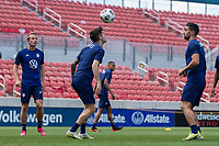 SANDY, UT - JUNE 8: Christian Pulisic heads the ball during a training session at Rio Tinto Stadium on June 8, 2021 in Sandy, Utah.