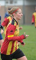 20160116 - ZULTE , BELGIUM :       pictured during a soccer match between the women teams of Famkes Merkem B and Yellow-Red KV Mechelen  , during the matchday in the Tirth League - Derde Nationale season, Saturday 13 February 2016 . PHOTO DIRK VUYLSTEKE