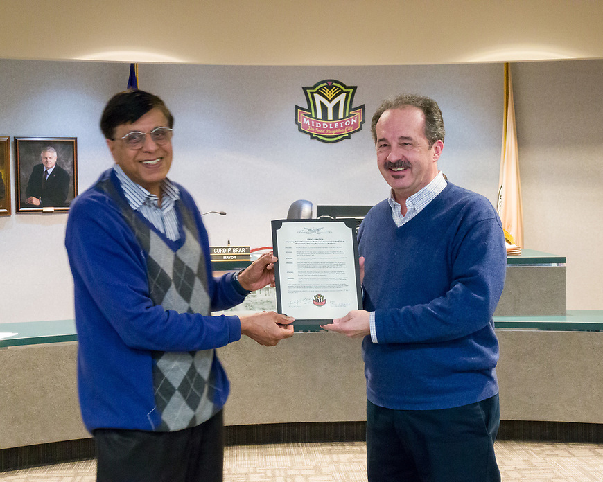 The City of Middleton and Mayor Gurdip Brar honored photographer Michael Knapstein wtih a Proclamation recognizing his achievements in photography.
