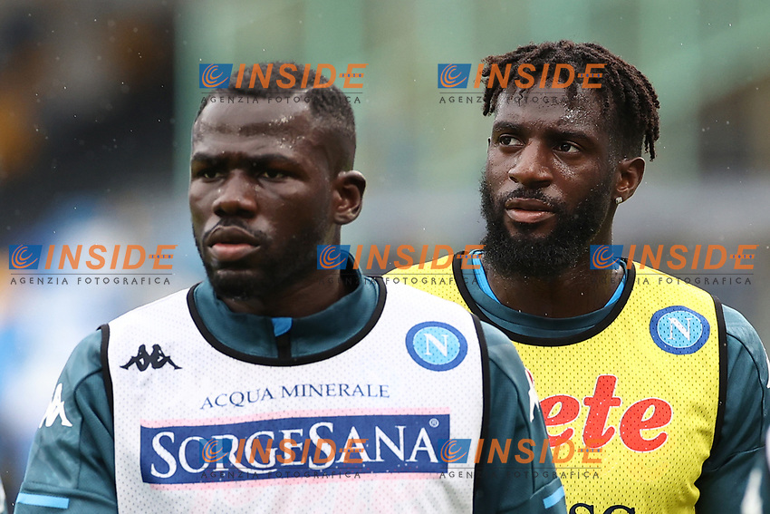 Tiemoue Bakayoko of SSC Napoli and Kalidou Koulibaly during the warm up<br /> prior to the Serie A football match between SSC Napoli and Atalanta BC at stadio San Paolo in Napoli (Italy), October 17th, 2020. <br /> Photo Cesare Purini / Insidefoto
