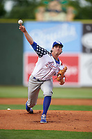 Lexington Legends pitcher Zach Lovvorn (31) delivers a pitch during a game against the Hagerstown Suns on May 22, 2015 at Whitaker Bank Ballpark in Lexington, Kentucky.  Lexington defeated Hagerstown 5-1.  (Mike Janes/Four Seam Images)