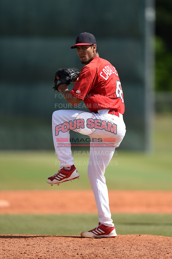 St. Louis Cardinals pitcher Juan Caballero (48) during a minor league spring training game against the New York Mets on April 1, 2015 at the Roger Dean Complex in Jupiter, Florida.  (Mike Janes/Four Seam Images)