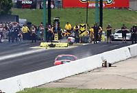 Jun 9, 2019; Topeka, KS, USA; NHRA pro mod driver Alex Laughlin hits the wall during the Heartland Nationals at Heartland Motorsports Park. Mandatory Credit: Mark J. Rebilas-USA TODAY Sports