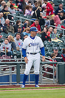 Omaha Storm Chasers manager Brian Poldberg (27) during the game against the Memphis Redbirds in Pacific Coast League action at Werner Park on April 24, 2015 in Papillion, Nebraska.  (Stephen Smith/Four Seam Images)