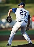 Fort Worth Cats Pitcher Justin Holloway (23) in action during the American Association of Independant Professional Baseball game between the Grand Prairie AirHogs and the Fort Worth Cats at the historic LaGrave Baseball Field in Fort Worth, Tx. Fort Worth defeats Grand Prairie 6 to 1.