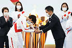 Azusa Iwashimizu and Tadahiro Nomura participates in <br /> The Grand Start Ceremony for the Tokyo 2020 Olympic Torch Relay at Fukushima National Training Center J-Village on March 25, 2021, in Fukushima Prefecture, Japan.<br /> The Torch Relay will last 121 days and visit all of Japan's 47 prefectures. (Photo by Naoki Morita/AFLO SPORT)