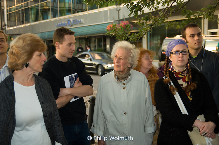 Members of West London Citizens outside the Hilton Hotel, Park Lane, after an unannounced visit to promote the organisation's Living Wage Campaign.