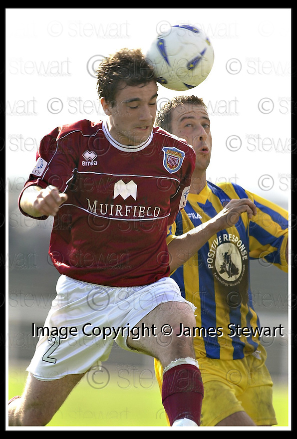 12/04/2003                   Copright Pic : James Stewart.File Name : stewart-arbroath v qots 09.KEVIN MCMULLEN HEADS CLEAR FROM DEREK LYLE....James Stewart Photo Agency, 19 Carronlea Drive, Falkirk. FK2 8DN      Vat Reg No. 607 6932 25.Office     : +44 (0)1324 570906     .Mobile  : +44 (0)7721 416997.Fax         :  +44 (0)1324 570906.E-mail  :  jim@jspa.co.uk.If you require further information then contact Jim Stewart on any of the numbers above.........