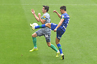 Blackburn Rovers' Darragh Lenihan battles with Wigan Athletic's Antonee Robinson<br /> <br /> Photographer Dave Howarth/CameraSport<br /> <br /> The EFL Sky Bet Championship - Wigan Athletic v Blackburn Rovers - Saturday 27th June 2020 - DW Stadium - Wigan<br /> <br /> World Copyright © 2020 CameraSport. All rights reserved. 43 Linden Ave. Countesthorpe. Leicester. England. LE8 5PG - Tel: +44 (0) 116 277 4147 - admin@camerasport.com - www.camerasport.com