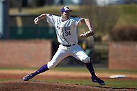 High Point Panthers pitcher Dawson Place (34) in action against the Bryant Bulldogs at Williard Stadium on February 21, 2021 in  Winston-Salem, North Carolina. The Panthers defeated the Bulldogs 3-2. (Brian Westerholt/Four Seam Images)