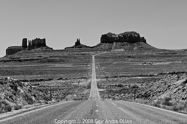 Classic view of Monument Valley in Arizona, USA in black and white