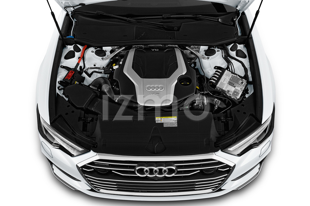 High angle detail view of 2019 Audi A6 S-Line 4 Door Sedan Engine
