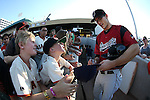 Sacramento River Cats' Kelby Tomlinson signs autographs before a game against the Reno Aces at Greater Nevada Field in Reno, Nev., on Tuesday, July 26, 2016.  <br />Photo by Cathleen Allison
