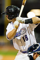 Joey DeMichele (18) of the Winston-Salem Dash at bat against the Wilmington Blue Rocks at BB&T Ballpark on April 20, 2013 in Winston-Salem, North Carolina.  The Dash defeated the Blue Rocks 5-0 in game two of a double-header.  (Brian Westerholt/Four Seam Images)