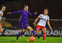 Elke Van Gorp  (7) of Anderlecht pictured with Amber De Priester (6) of Zulte-Waregem during a female soccer game between RSC Anderlecht Dames and SV Zulte Waregem on the 10 th matchday of the 2020 - 2021 season of Belgian Womens Super League , friday 18 th of December 2020  in Tubize , Belgium . PHOTO SPORTPIX.BE | SPP | DAVID CATRY